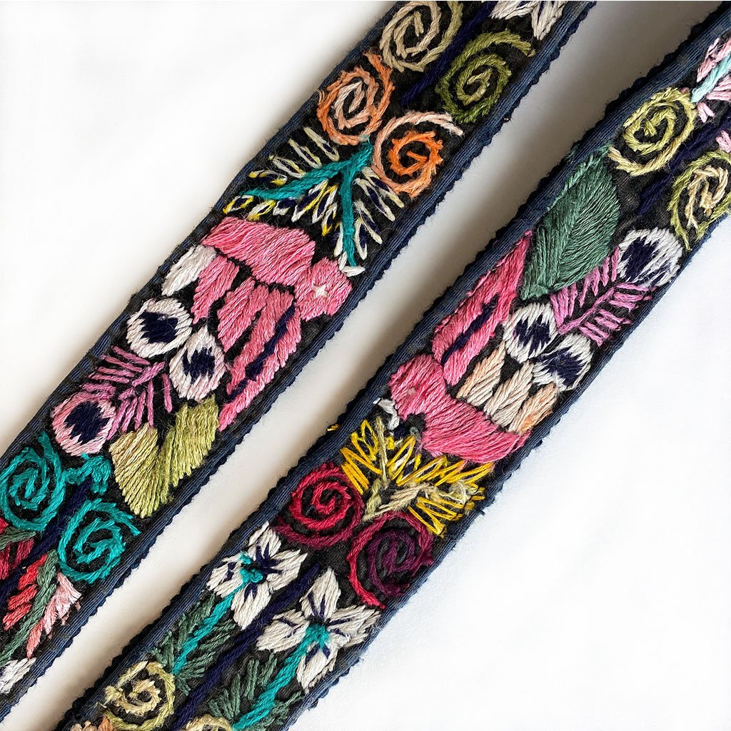embroidered pink birds on guitar strap - The Fox and the Mermaid