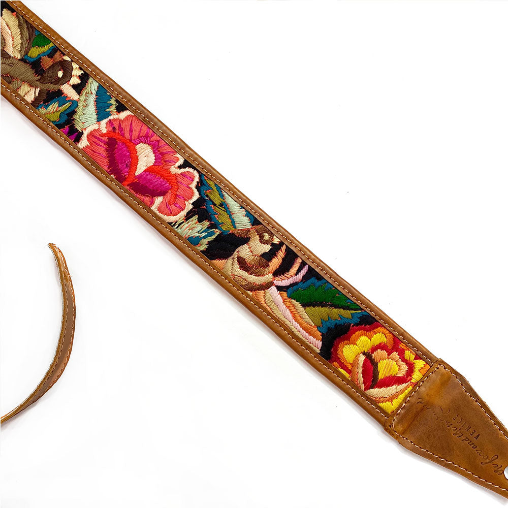Embroidered bird on guitar strap - The Fox and the Mermaid