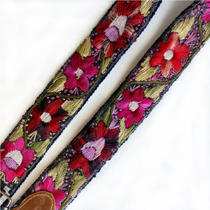 Detail: Floral Embroidered Guitar Strap - The Fox and the Mermaid