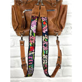 Leather Embroidered Mayan Backpack Straps - The Fox and The Mermaid