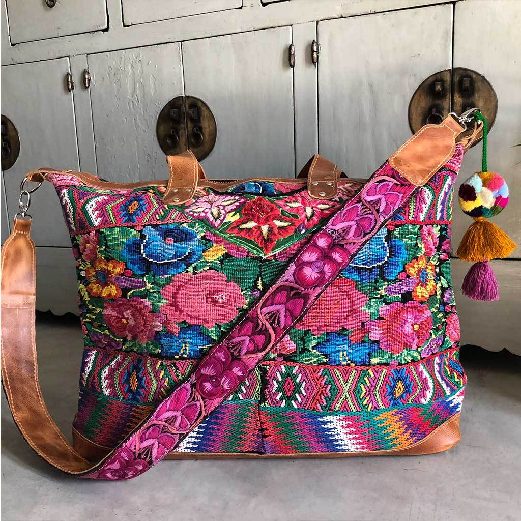 Embroidered Guatemalan Weekender Travel Bag The Fox and the Mermaid