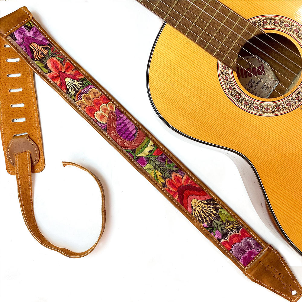 Hand woven guitar strap from Guatemala - The Fox and the Mermaid