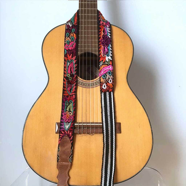 Guatemalan Guitar Strap with birds The Fox and the Mermaid