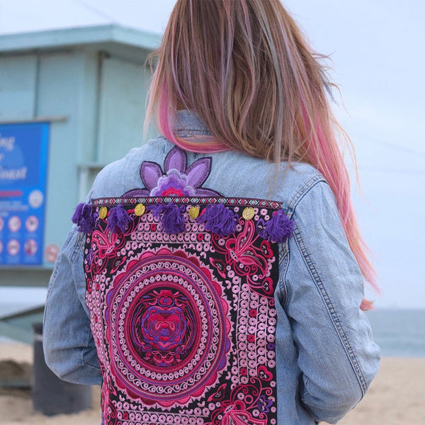 Embellished Denim Jacket with Coins, Tassels and Embroidery