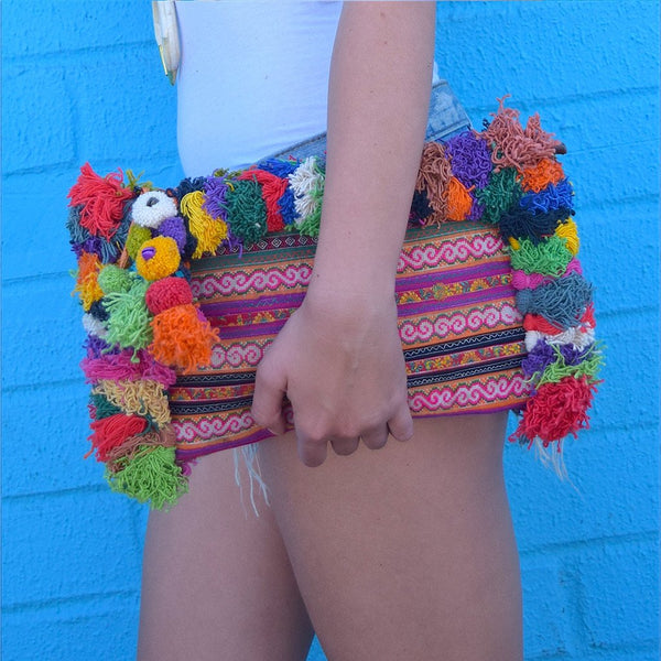 Large Hmong Embroidered Clutch with Pom-Poms (various colors)