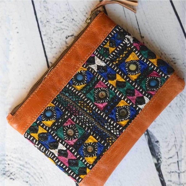 Indian Embroidered Leather Clutch The Fox and the Mermaid
