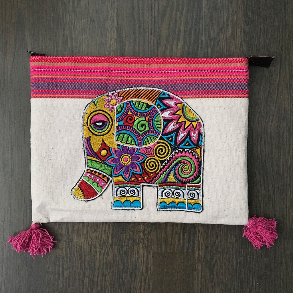 Hand Embroidered Elephant Ipad Clutch - The Fox and The Mermaid
