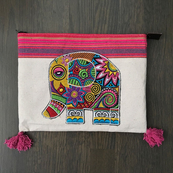 Hand Embroidered Elephant Ipad Clutch