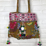 Embroidered Kantha quited Bag The Fox and the Mermaid