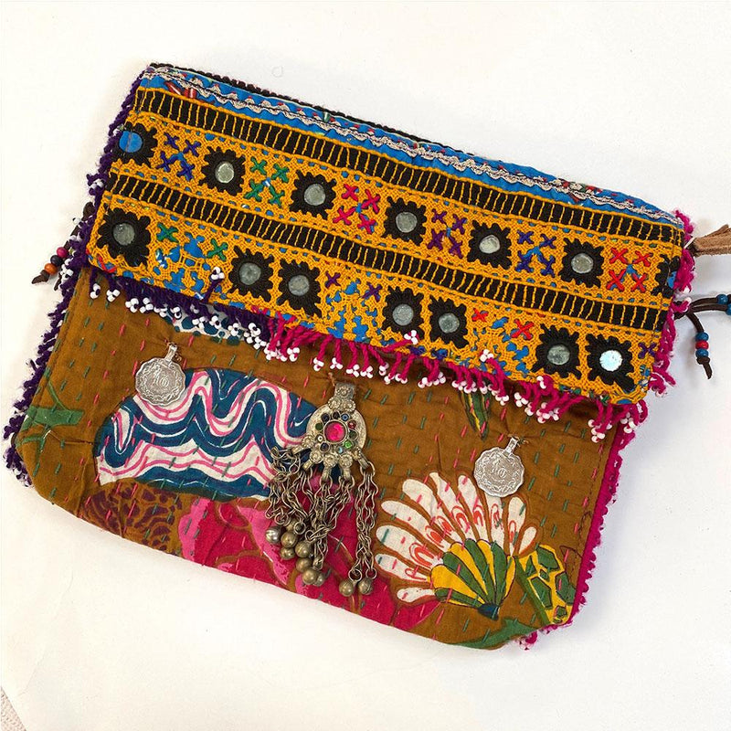 vintage Embroidered Kantha Banjara Clutch  - The Fox and The Mermaid