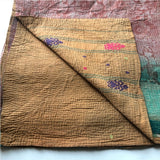Kantha quilt with embroidered designs The Fox and the Mermaid