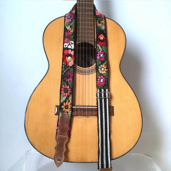 Guitar Strap with Flowers The Fox and the Mermaid