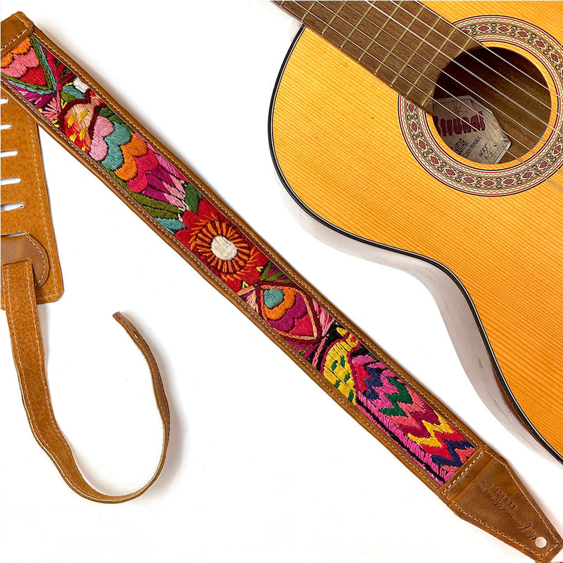 Embroidered bird and fish on  Guitar Strap - The Fox and the Mermaid