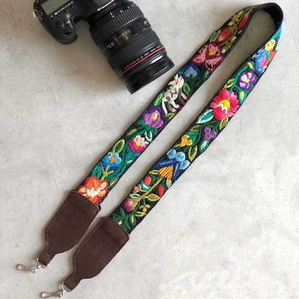 Embroidered strap with dog and flowers The Fox and the Mermaid