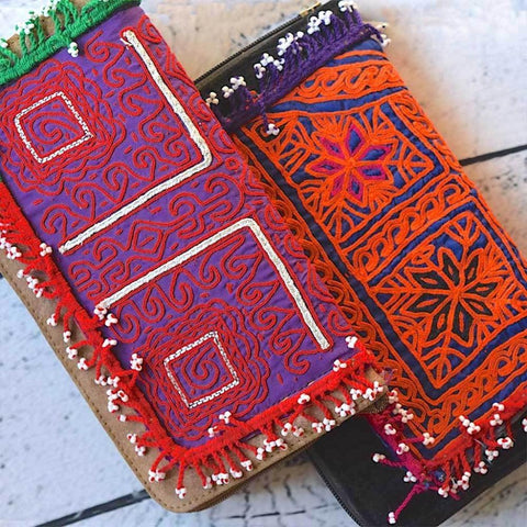 Embroidered Suede Banjara Wallet (Various Colors)
