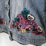 Embellished Denim Hmong Jacket with Coins, Tassels and Embroidery