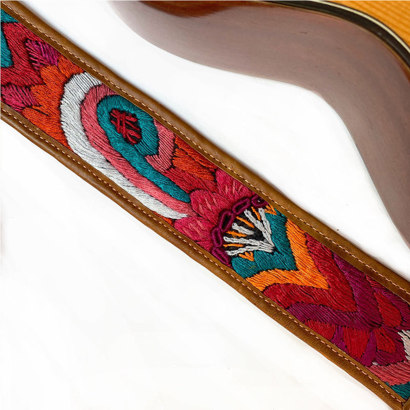 embroidery detail on  Guitar Strap - The Fox and the Mermaid