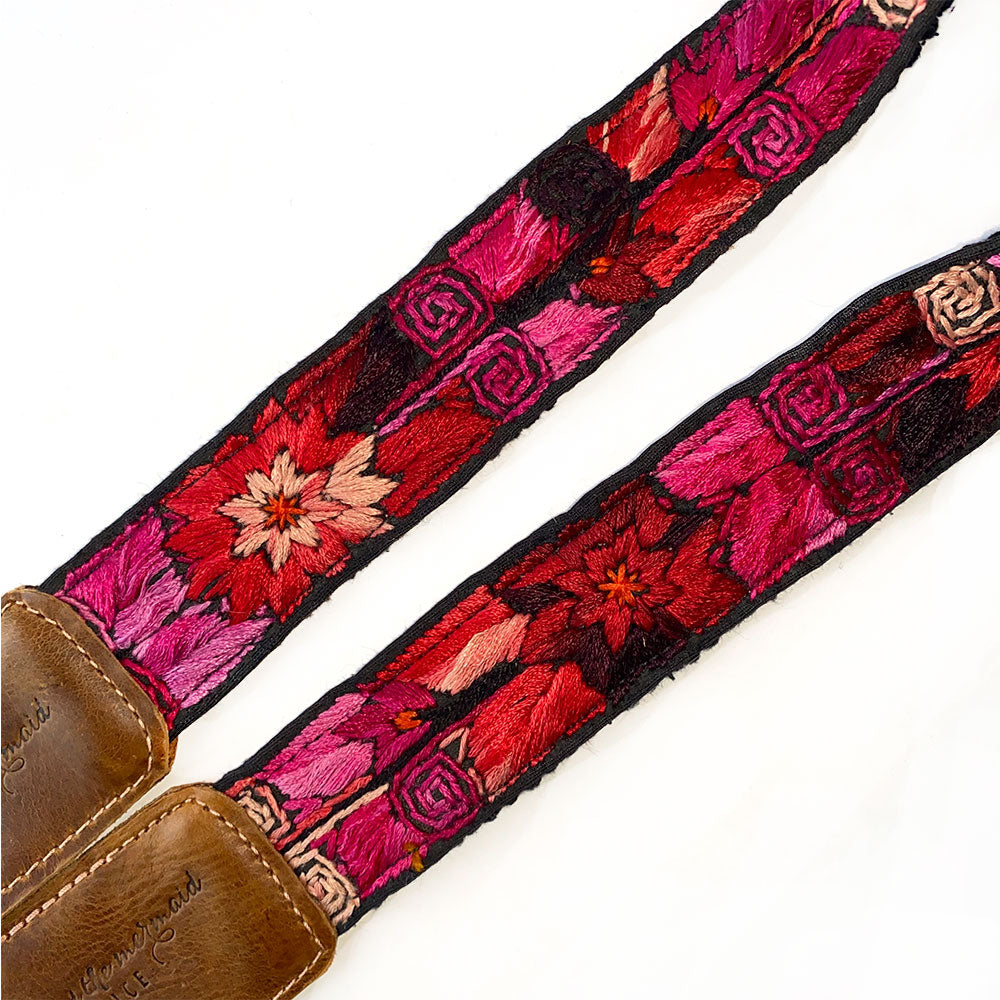 red embroidered flowers on faja belt - - The Fox and the Mermaid
