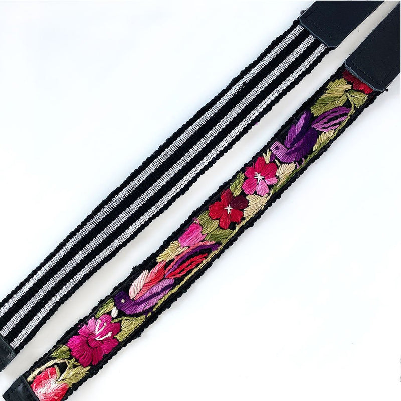 detail of floral backpack straps from guatemala The oOx and the Mermaid