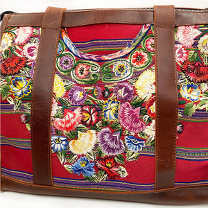 Embroidered Flower Details on Dog Bag - The Fox and the Mermaid