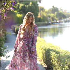 pink georgette bohemian style dress The Fox and the Mermaid