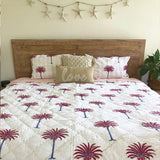 Pink and Red Palm Tree Quilt