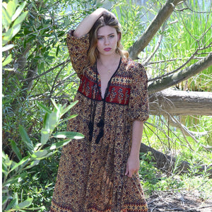 Brown indian hippie dress the-fox-and-the-mermaid