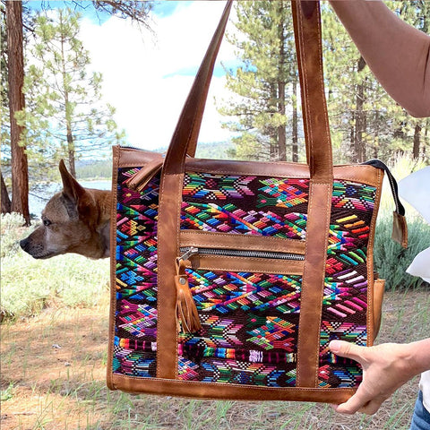 Geo Guatemalan Huipil Dog Purse and Carrier
