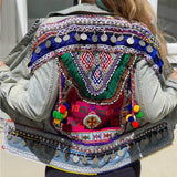 Boho Denim Embellished Jacket The Fox and the Mermaid