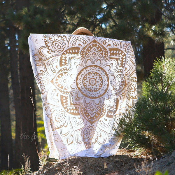 gold lotus flower mandala tapestry the-fox-and-the-mermaid