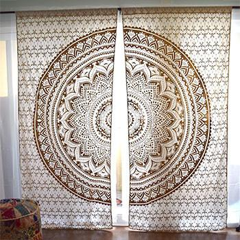 Gold or Silver Mandala Tapestry Curtains