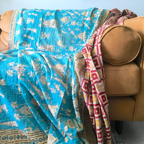 Blue Hand-stitched Kantha Quilt The Fox and the Mermaid
