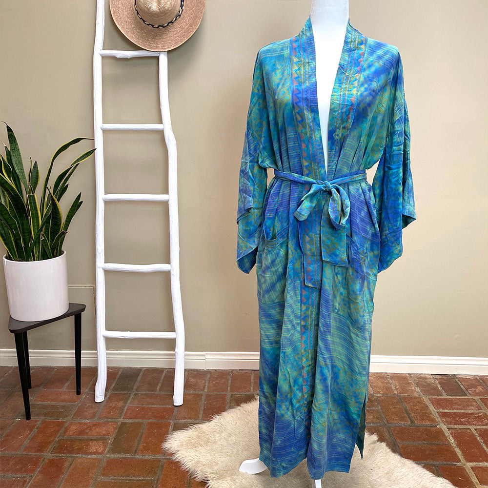 Blue and gree tie-dyed silk crepe kimono - The Fox and the Mermaid