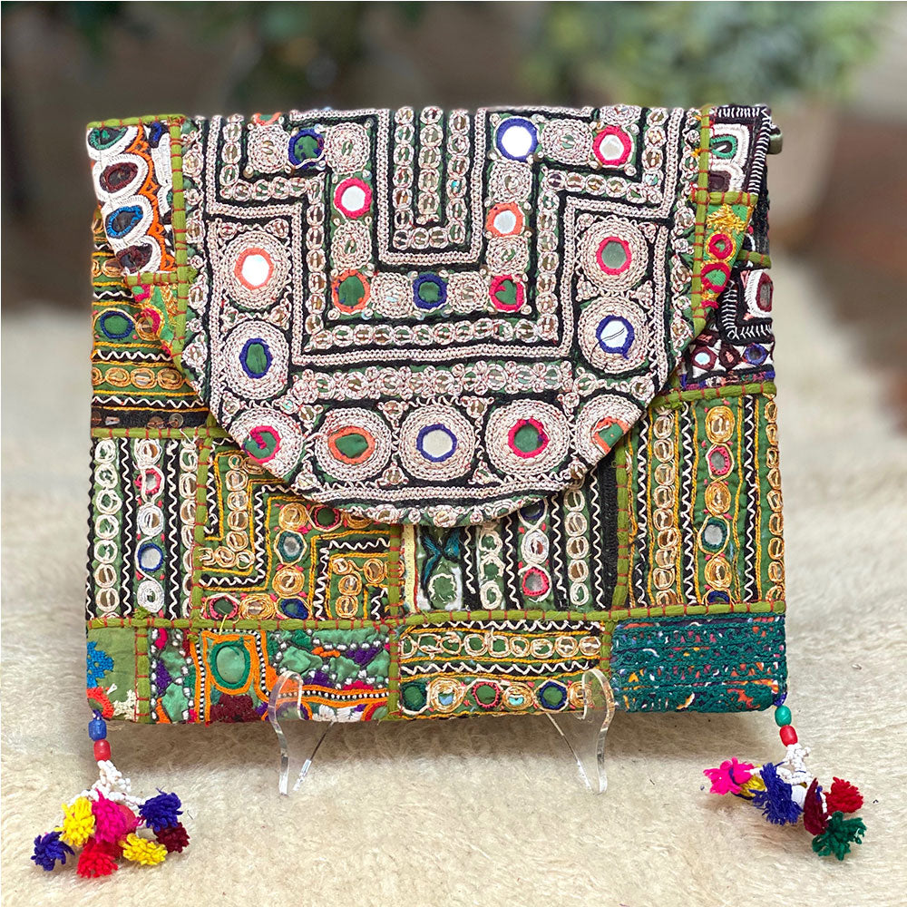 Green Bohemian indian Clutch - The Fox and the Mermaid