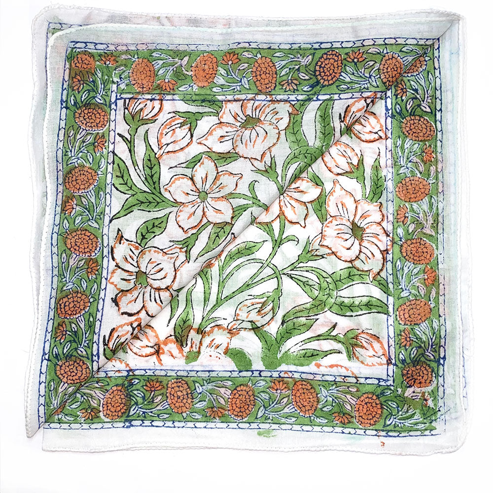 green indian printed scarf and bandana - The Fox and the Mermaid