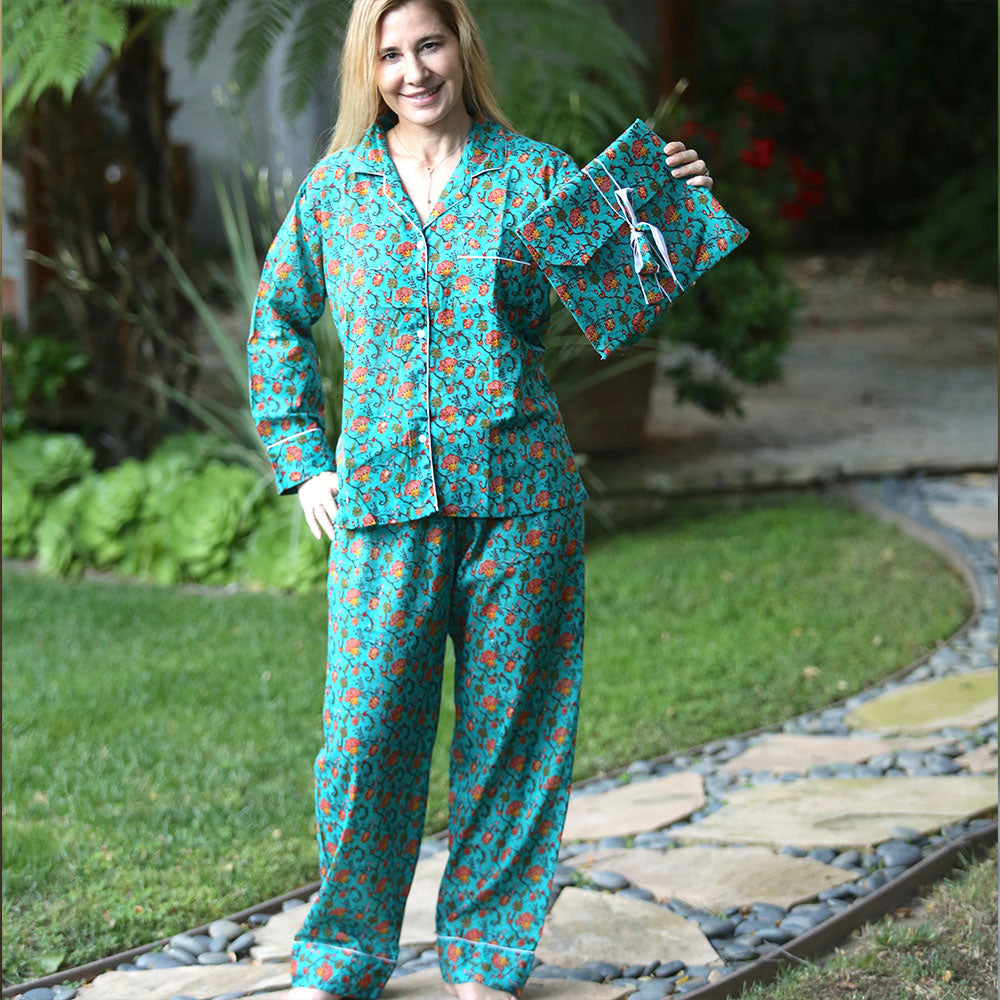 green and orange floral pajama set - The Fox and the Mermaid