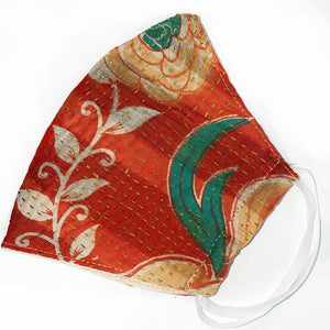 Orange floral kantha quilted mask - The Fox and the Mermaid