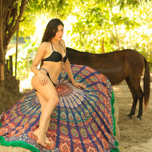 The Zingara Mandala Roundie with Green Fringe - The Fox and The Mermaid - 1
