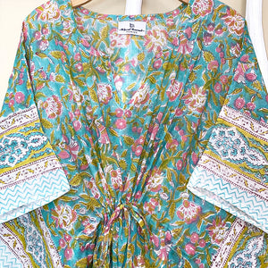 floral green kaftan - The Fox and the Mermaid