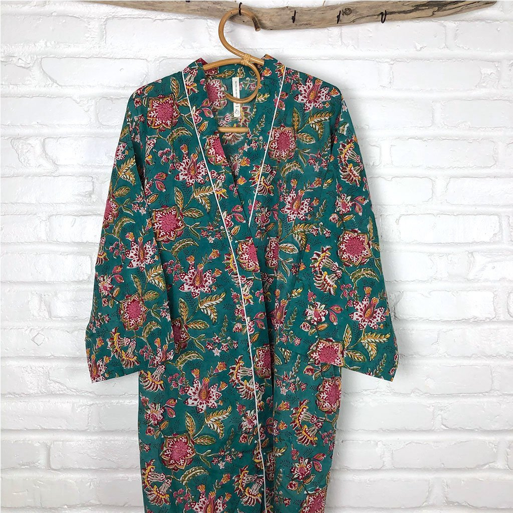 green and pink cotton hand block printed robe The Fox and the Mermaid