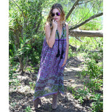 1970s style purple indian cotton dress the-fox-and-the-mermaid