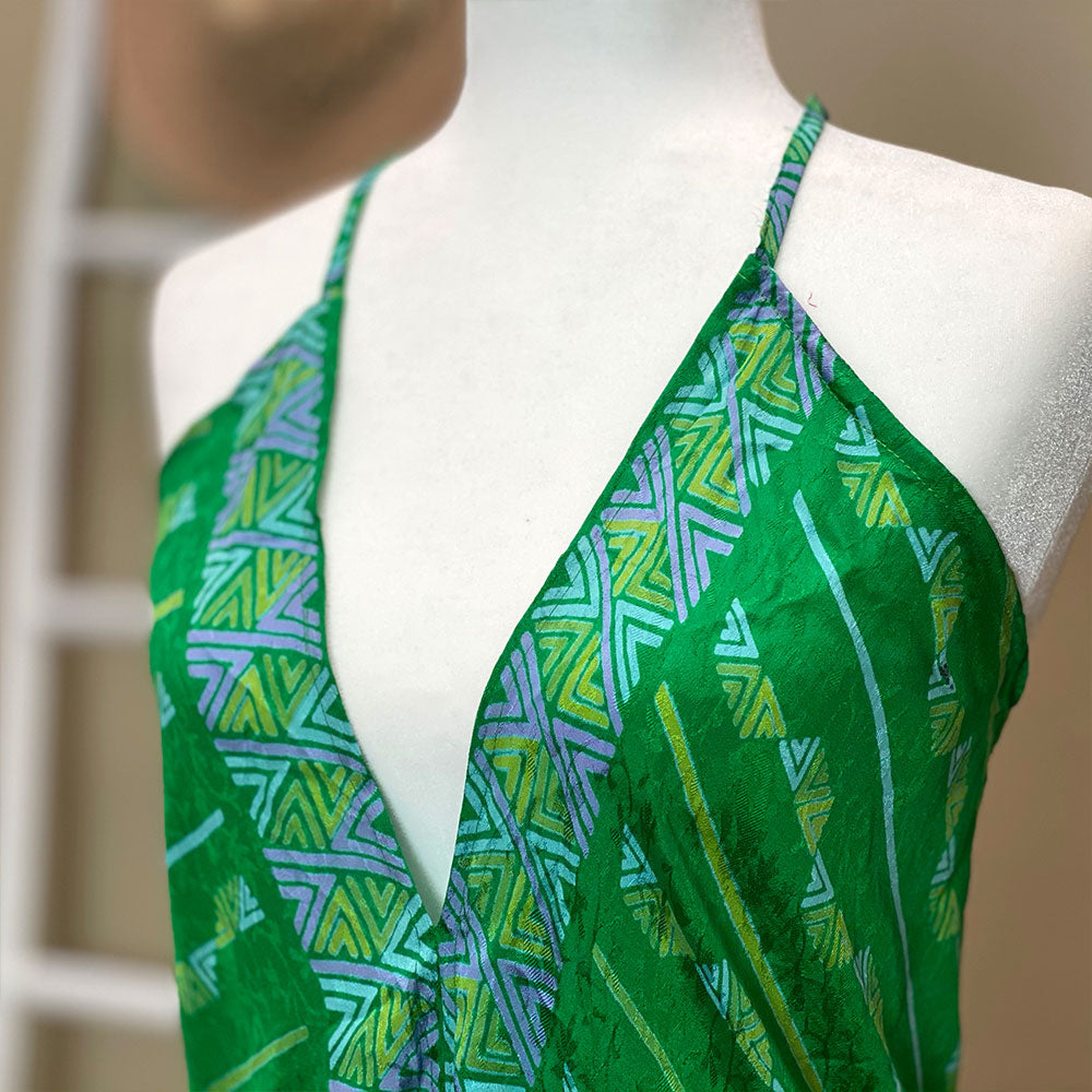 detail Green indian silk dress - The Fox and the Mermaid