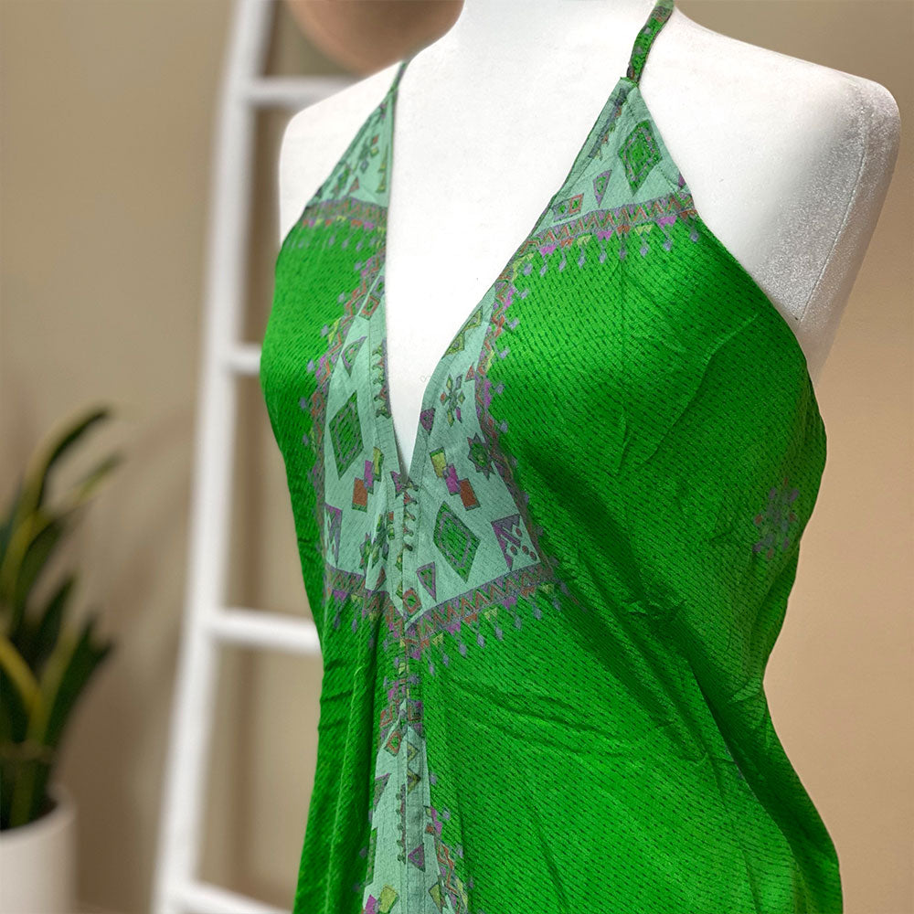 green vintage soft silk dress - The Fox and the Mermaid