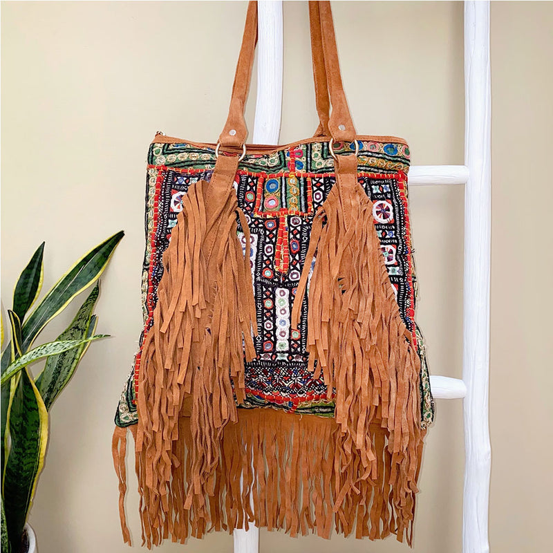 Suede indian bag with vintage embroidery and fringe  - The Fox and the Mermaid