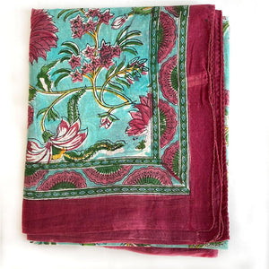 burgundy mint block printed scarf The Fox and the Mermaid