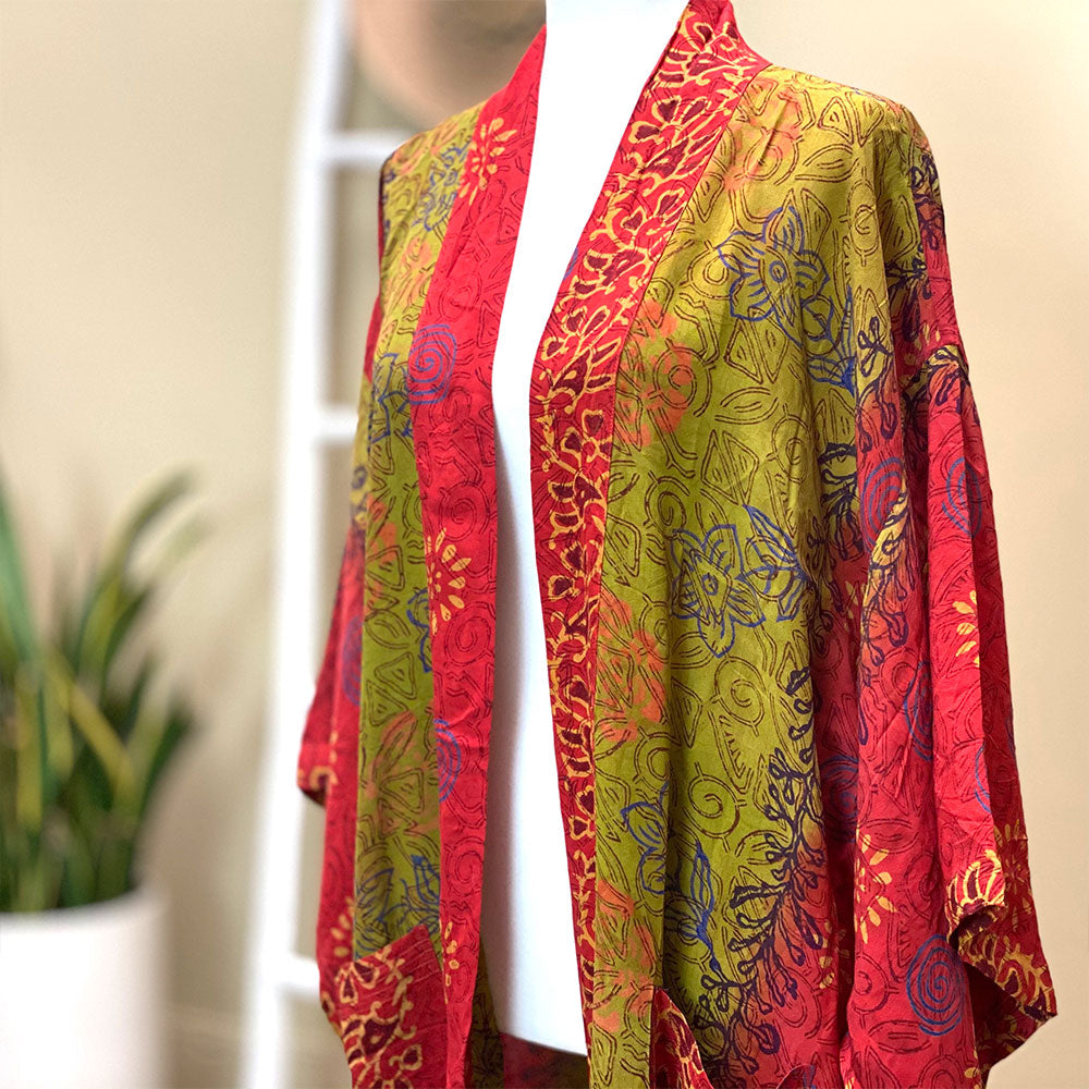 beautiful handmade silk kimono - The Fox and the Mermaid