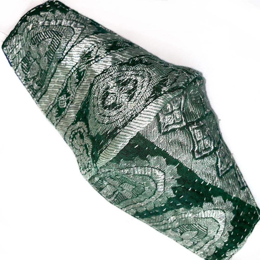 green kantha brocade reversible mask - The Fox and the Mermaid