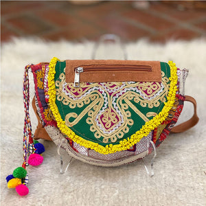 Green and gold vintage banjara hip bag - The Fox and the Mermaid