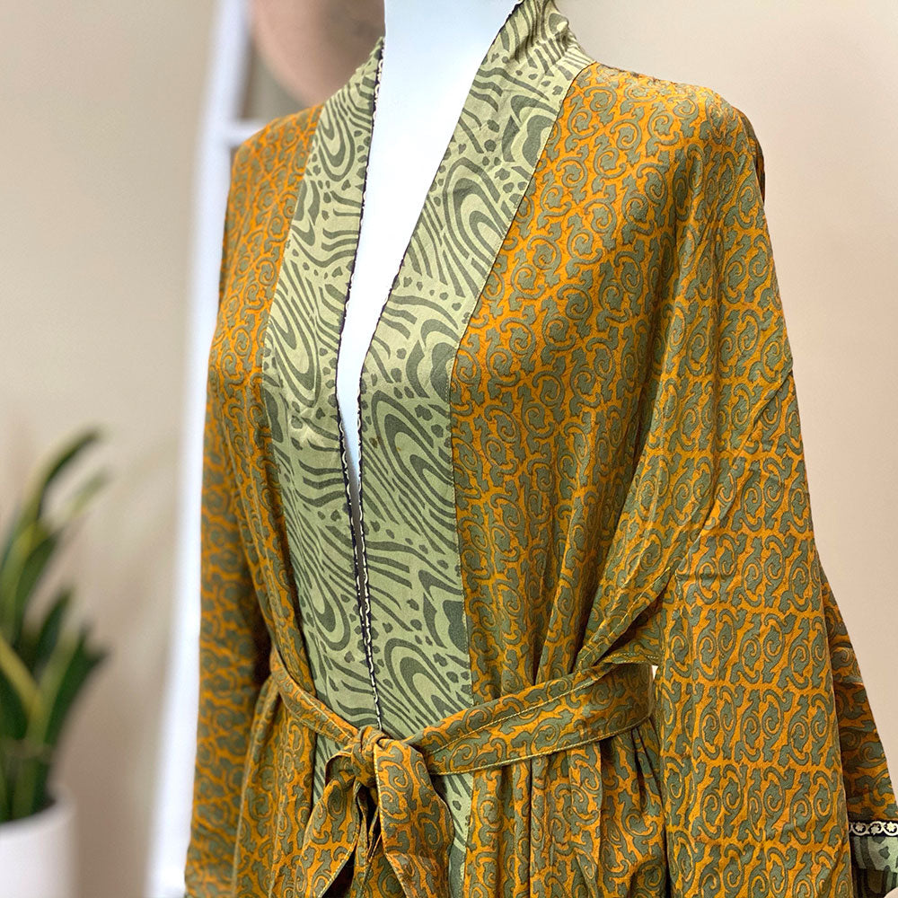 Mustard green vintage silk kimono  - The Fox and the Mermaid
