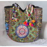 Embroidered Banjara Bag with Pom-poms - The Fox and The Mermaid